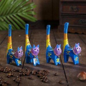 """Сувенирный набор """"Кошечки цветные под кольца"""" 4 штуки 7х5х10 см"""