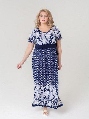 Платье Тиволи (сине-белый принт)