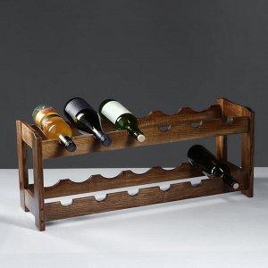 """Стеллаж винный """"Рустик"""". 70 х 25 х 30 см. массив ясеня. цвет темный орех"""