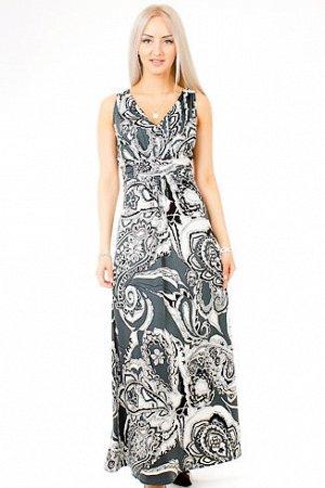 Платье Прекрасное длинное платье с V-образным вырезом горловины и интересным принтом придаст Вашему образу изысканность и сексуальность. Ткань- тонкий трикотаж: 95% П/Э 5% ЭЛАСТАН