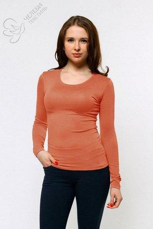 Джемпер Джемпер женский с круглой горловиной и длинным рукавом. Выполнен из гладкокрашенной ткани. Состав ткани: 95% вискоза, 5% лайкра. Плотность — 210 г/м2
