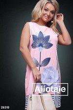 Персиковое платье миди с кувшинкой
