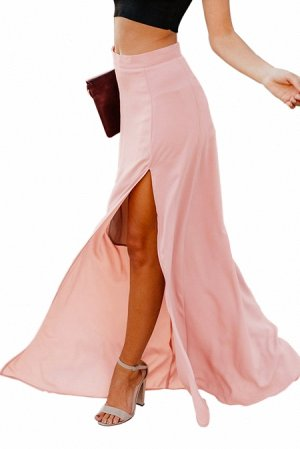 Розовая свободная макси юбка с высоким разрезом сбоку