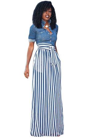 Голубая юбка-колокол макси длины с поясом и узором из продольных полос