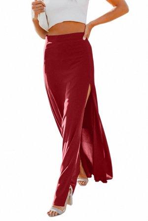 Красная свободная макси юбка с высоким разрезом сбоку