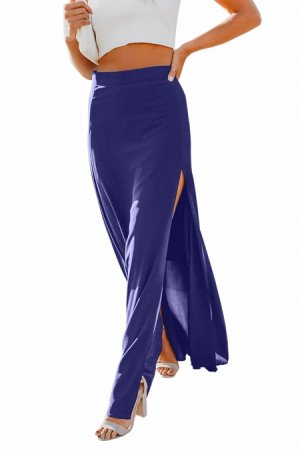 Синяя свободная макси юбка с высоким разрезом сбоку