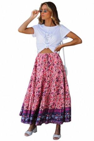 Розово-фиолетовая в цветы расклешенная макси юбка на резинке