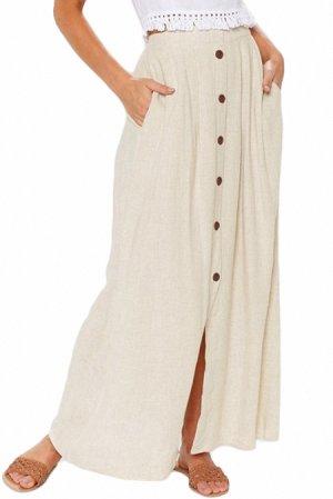 Бежевая свободная макси юбка на пуговицах и с карманами