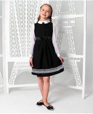 Школьный сарафан с кружевом,черный Цвет: черный