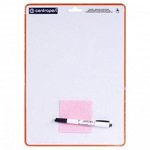 Доска маркерная, A4, двухсторонняя: без рисунка/клетка, с маркером и салфеткой