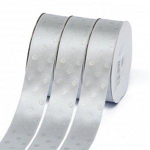 Лента атласная Ideal горошек серебро шир.25мм LDAS007 цв.007 серый уп.27,4м