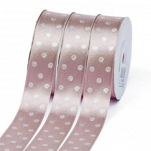Лента атласная Ideal горошек серебро шир.25мм LDAS164 цв.164 гр.розовый уп.27,4м