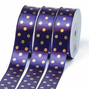 Лента атласная Ideal горошек золото шир.25мм LDAG476 25мм цв.476 фиолетовый уп.27,4м