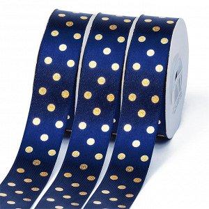 Лента атласная Ideal горошек золото шир.25мм LDAG370 цв.370 синий уп.27,4м