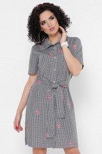 Платье-рубашка Sophie PL-1767B клетка черная