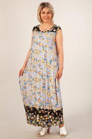 Платье Стефани цветы на голубом