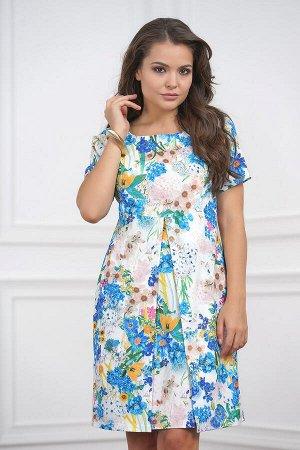 Платье -Трикотаж,Васильки на молочном