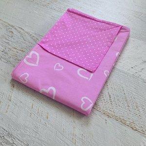 Пододеяльник полуторный комбинированный Розовый горошек/сердца