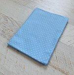 Простынь на резинке на матрац 90х200 Голубая, белый горошек