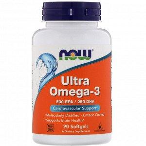 Now Foods, Ультра Омега-3, 500 EPA/250 DHA, 90 мягких капсул