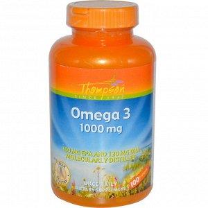 Thompson, Омега 3, 1000 мг, 100 капсул