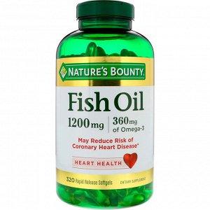 Nature&amp - #x27 - s Bounty, Рыбий жир, 1200 мг, 320 гелевых капсул