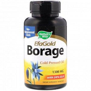 Nature&#x27 - s Way, EfaGold, огуречник, 1300 мг, 60 мягких желатиновых капсул