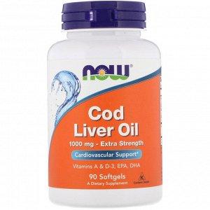 Now Foods, Жир печени трески, усиленного действия, 1000 мг, 90 мягких таблеток