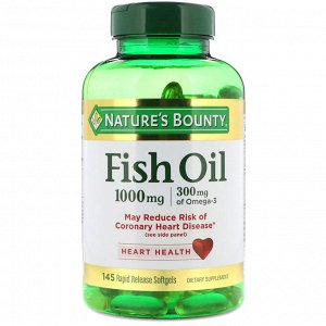 Nature&amp - #x27 - s Bounty, Fish Oil, 1000 mg, 145 Rapid Release Softgels