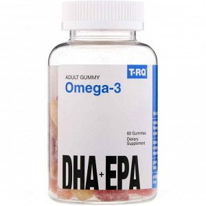 T-RQ, Adult Gummy Omega-3, DHA + EPA, Lemon, Orange, Strawberry, 60 Gummies