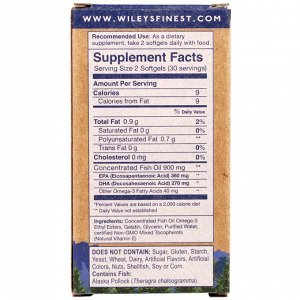 Wiley&#x27 - s Finest, Wild Alaskan Fish Oil, Easy Swallow Minis, 630 mg, 60 Softgels