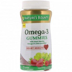 Nature&#x27 - s Bounty, Жевательные таблетки с Омега-3, виноград, со вкусом клубники и малины, 70 жевательных таблеток