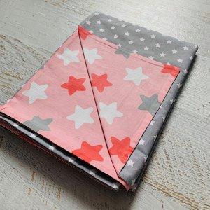 Пододеяльник полуторный комбинированный Розовый звёзды\Серый звёздочки