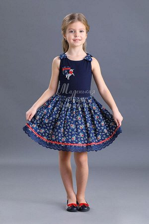 Лето-Платье пышное,цветочная набивка,на плечах бантики  м.Леди