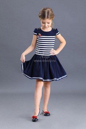 Лето-Платье пышное, без рук. в морском стиле,  м.Леди