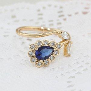 Кольцо Покрытие: Золото; Пол: Женский; Размер кольца: 16; Камни вставки: Цирконы; Материал: гипоаллергенный ювелирный сплав; Цвет циркона: Синий Красивые кольца с благородными цирконами изготовлены из