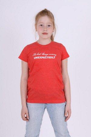 Футболка для девочки с принтом ДФ014-013 красный