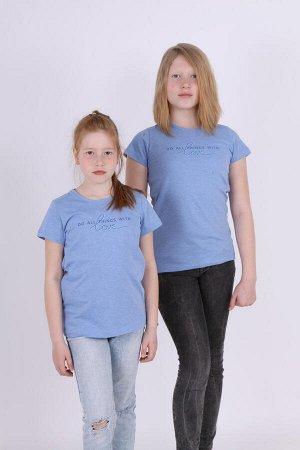 Футболка для девочки с принтом ДФ013-013 синий