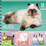 """Альбом 32 л """"Проф-Пресс Пушистые кошки"""" спираль (5 дизайнов) 1/20 арт. 32-1751"""