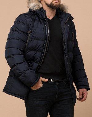 Современная куртка большого размера цвет черно-синий модель 23752