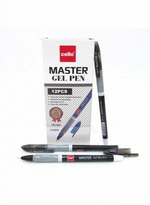 Ручка гелевая, цвет чернил - ЧЁРНЫЙ, черный корпус с серым держателем, игольчатый наконечник 0,5 мм