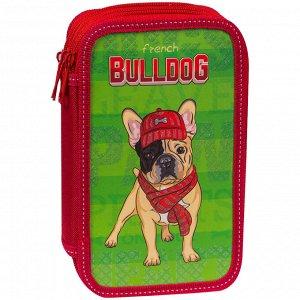 """Пенал 2 отделения, 190*115 ArtSpace """"Bulldog"""", ламинированный картон, конгрев, блестки"""