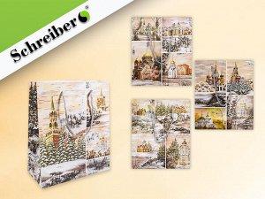 Пакет подарочный бумажный РУССКИЕ МОТИВЫ, 18х21х8,5 см, 4 дизайна в ассортименте