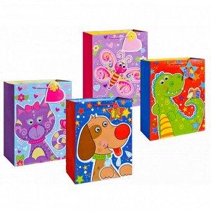 Пакет подарочный бумажный,матовый ЗАБАВНЫЕ ЖИВОТНЫЕ, 32х26х12 см, 4 вида в ассортименте