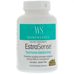 Natural Factors, WomenSense, EstroSense, Средство для поддержания гормонального баланса, 120 вегетарианских капсул