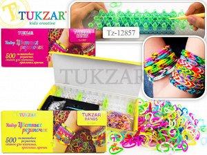 Набор цветных резиночек для детского творчества TUKZAR BANDS, картонная упаковка, 500 резиночек, станок-рогатка, крючок.