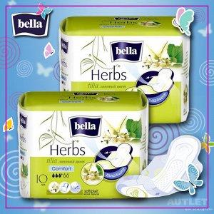 Женские гигиенические прокладки bella Herbs с экстрактом липового цвета drainette 10 шт
