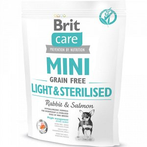 Brit Care Mini Light&Sterilised д/соб мини-пород облегченный беззерновой 400гр (1/10)