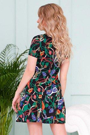 Платье Грэйс цепи зеленые (П-112-7)