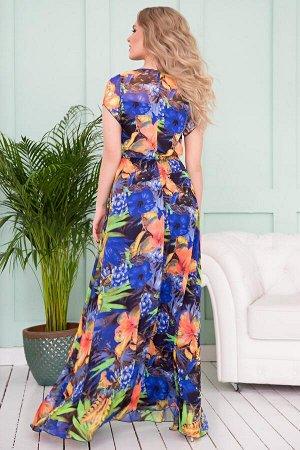 Платье из шифона оранжевые цветы (П-54-7)